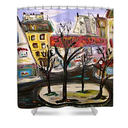 Shower Curtain featuring the painting Flowers At The Corner by Mary Carol Williams