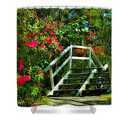 Flowers Bloom Alongside Magnolia Plantation Bridge - Charleston Sc Shower Curtain