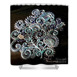 Flowers Blue Shower Curtain