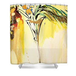 Flowers Flowing In Yellow Shower Curtain by Amara Dacer