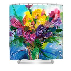 Shower Curtain featuring the painting Flowers For My Jesus by Karen Showell