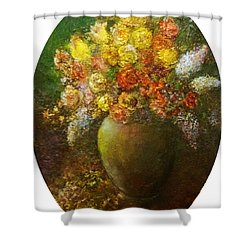Flowers I A Green Vase Shower Curtain