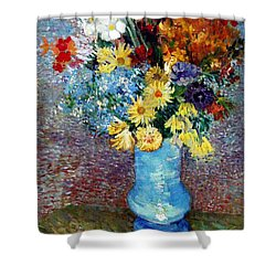 Shower Curtain featuring the painting Flowers In A Blue Vase  by Van Gogh