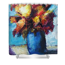 Shower Curtain featuring the painting Flowers In A Blue Vase. by Yulia Kazansky