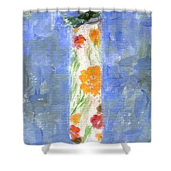 Shower Curtain featuring the painting Flowers In A Bottle by Jamie Frier