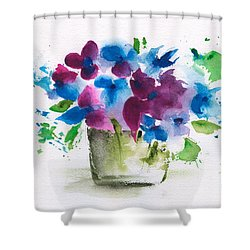 Flowers In A Glass Vase Abstract Shower Curtain