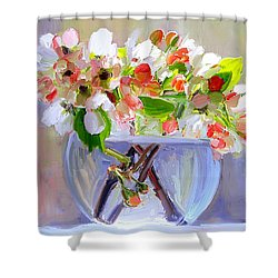 Flowers In Glass Bowl Shower Curtain