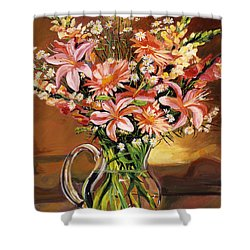 Flowers In Glass Shower Curtain