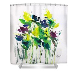 Flowers In Grass Abstract Shower Curtain