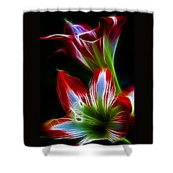 Flowers In Green And Red Shower Curtain