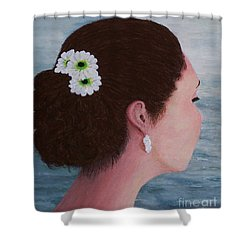 Flowers In Her Hair Shower Curtain by Judy Kirouac