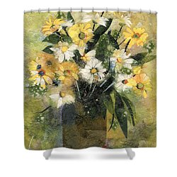 Flowers In White And Yellow Shower Curtain by Nira Schwartz