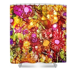 Flowers In Yellow And Pink Shower Curtain
