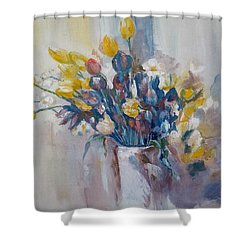 Tulips Flowers Shower Curtain by Khalid Saeed