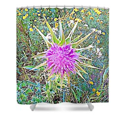 Shower Curtain featuring the mixed media Flowers by Lucia Sirna
