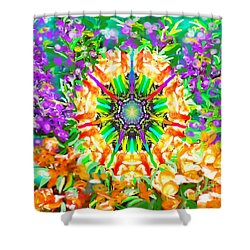 Shower Curtain featuring the painting Flowers Mandala by Hidden Mountain