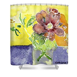 Flowers On A Blue Table Shower Curtain