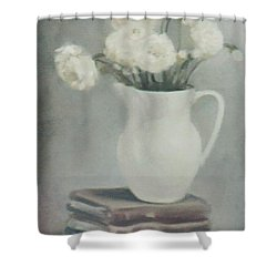 Flowers On Old Books Shower Curtain