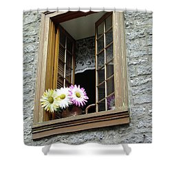 Shower Curtain featuring the photograph Flowers On The Sill by John Schneider