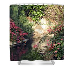 Flowers Over Pond Shower Curtain by Amanda Eberly-Kudamik