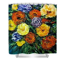 Flowers Painting #191 Shower Curtain by Donald k Hall