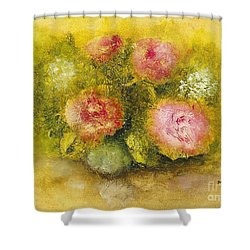 Shower Curtain featuring the painting Flowers Pink by Marlene Book