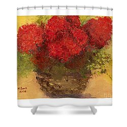 Shower Curtain featuring the mixed media Flowers Red by Marlene Book