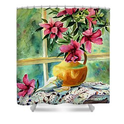 Flowers Shells And Lace Shower Curtain