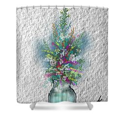 Shower Curtain featuring the digital art Flowers Study Two by Darren Cannell