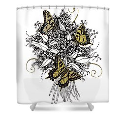 Shower Curtain featuring the drawing Flowers That Flutter by Stanza Widen