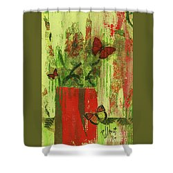 Shower Curtain featuring the mixed media Flowers,butteriflies, And Vase by P J Lewis