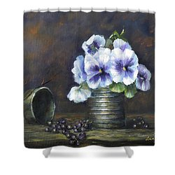 Shower Curtain featuring the painting Flowers,pansies Still Life by Luczay