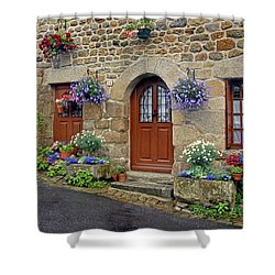 Flowery Doorways In Brittany Shower Curtain by Dave Mills