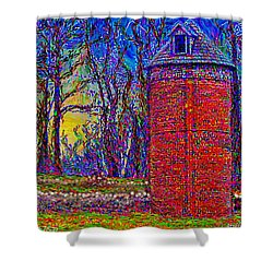 Shower Curtain featuring the painting Floyd,virginia Tower by Hidden Mountain