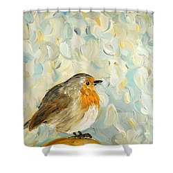 Shower Curtain featuring the painting Fluffy Bird In Snow by Maria Langgle