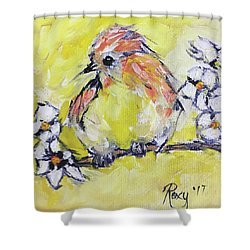 Fluffy Yellow Bird Shower Curtain