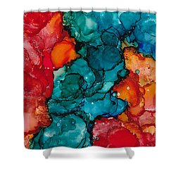 Shower Curtain featuring the painting Fluid Depths Alcohol Ink Abstract by Nikki Marie Smith