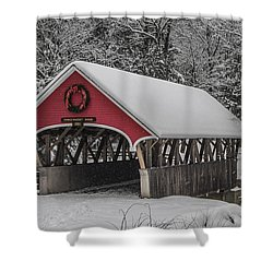 Flume Covered Bridge In Winter Shower Curtain