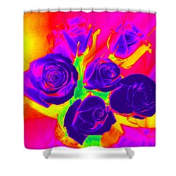 Fluorescent Roses Shower Curtain