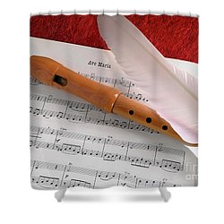 Flute And Feather Shower Curtain by Carlos Caetano