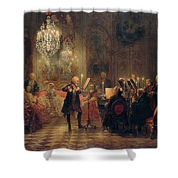 Shower Curtain featuring the painting Flute Concert With Frederick The Great In Sanssouci by Adolph Menzel
