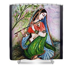 Flute Playing In - Krishna Devotion  Shower Curtain