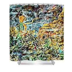Shower Curtain featuring the painting Flutes Breath by Alfred Motzer