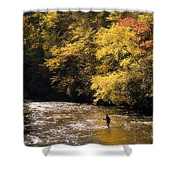 Shower Curtain featuring the photograph Fly Fisherman On The Tellico - D010008 by Daniel Dempster