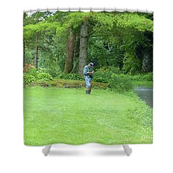 Fly Fishing On Trout Run Creek Shower Curtain