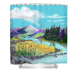 Fly Fishing With Aa Wooly Worm. Shower Curtain