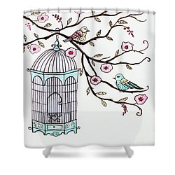 Fly Free Shower Curtain by Elizabeth Robinette Tyndall