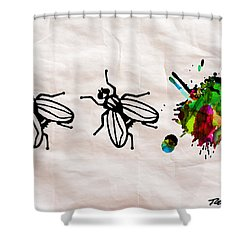 Fly On The Wall Abstract Watercolor Shower Curtain