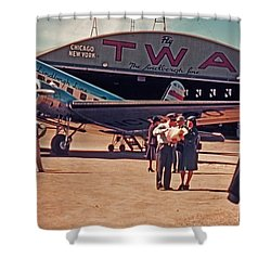 Fly Twa The Lindberg Line By Henry Bosis Shower Curtain