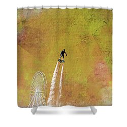 Flyboard, Sketchy And Painterly Shower Curtain